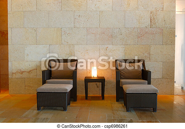 Relaxation chairs at modern SPA, Crete, Greece - csp6986261