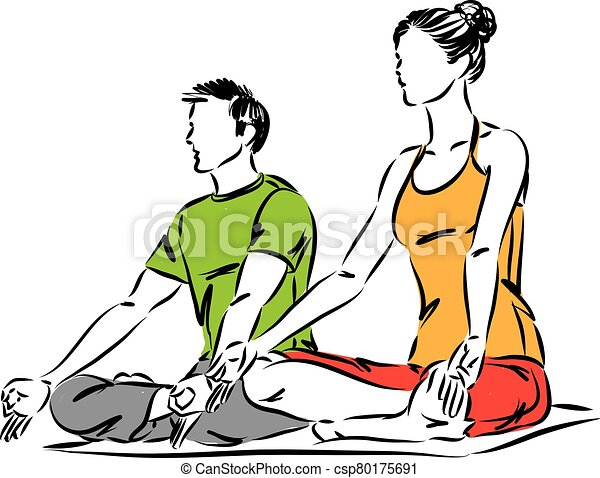 Relaxation Femme Vecteur Attitude Homme Couple Illustration Yoga Canstock