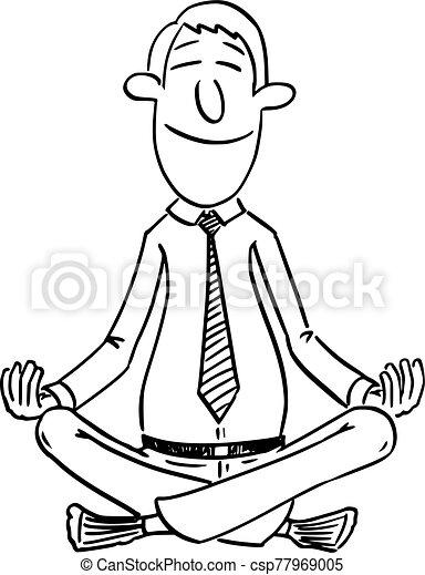 Relaxation Position Yoga Lotus Homme Vecteur Seance Meditation Comique Homme Affaires Dessin Anime Ou Relaxation Canstock