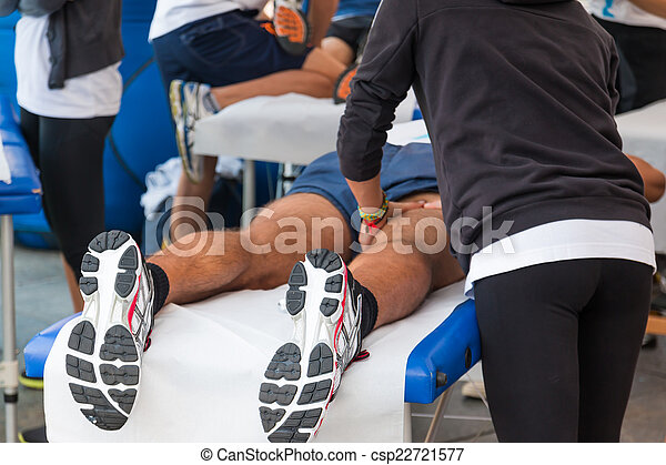 relaxation, sport, athlètes, événement, masage, avant - csp22721577