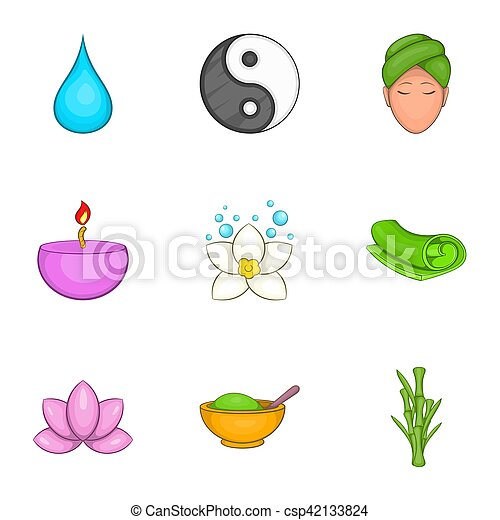 Relaxation Style Dessin Anime Ensemble Icones Relaxation Dessin Anime Toile 9 Set Icones Illustration Canstock