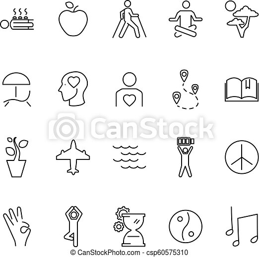 relaxation techniques outline vector icon collection set relaxation