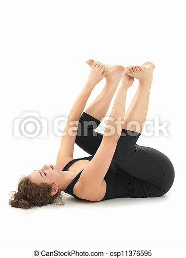 relaxation yoga posture young woman practicing relaxation