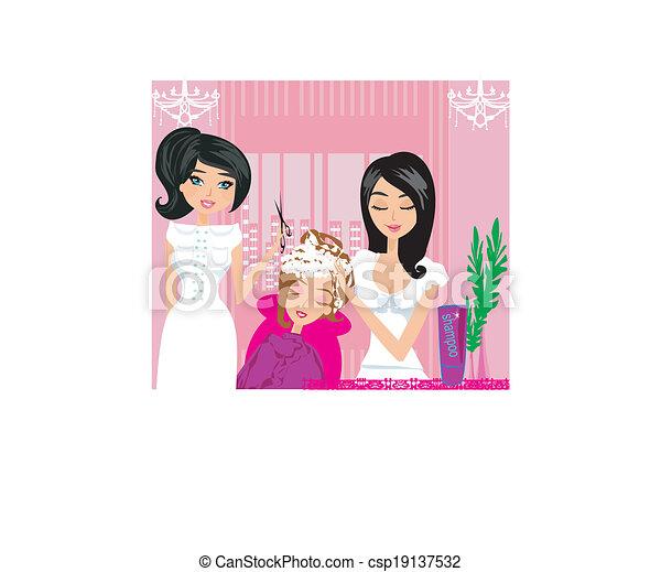 relaxe, cabeleireiras - csp19137532