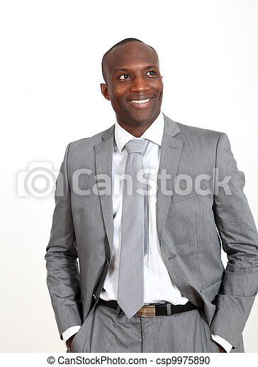 Relaxed businessman on white background - csp9975890