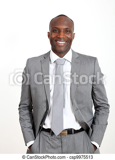 Relaxed businessman on white background - csp9975513