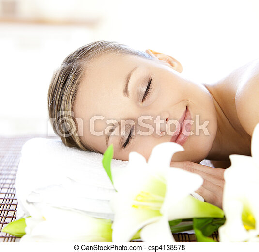 relaxed woman getting spa treatment - csp4138578