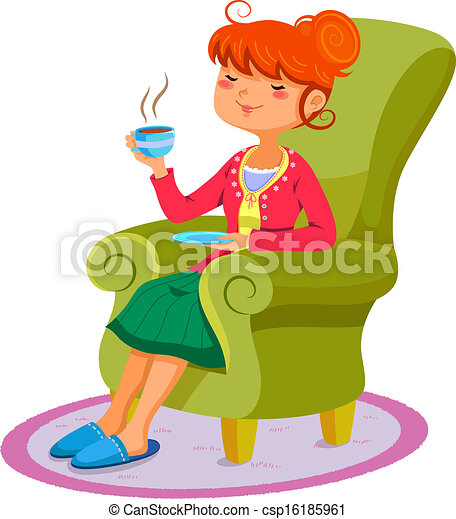 Woman relaxing on the sofa with a cup of hot drink clip ...