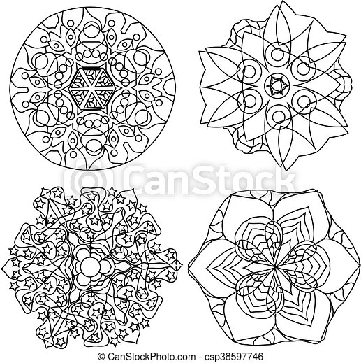 Relaxing Coloring Page With Mandala Abstract Flowers For Kids And Adults Art Therapy Background Design Elements