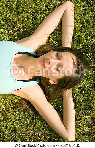 relaxing on grass - csp2180435