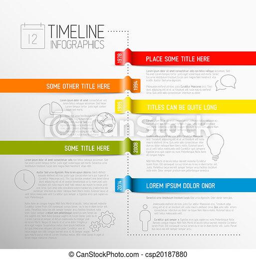 relazione, timeline, infographic, sagoma - csp20187880