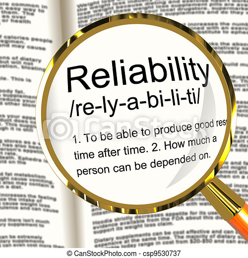Reliability Definition Magnifier Shows Trust Quality And Dependability - csp9530737