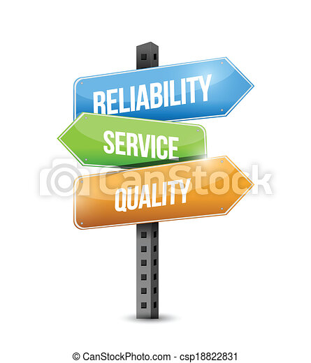 reliability, service and quality sign illustration - csp18822831