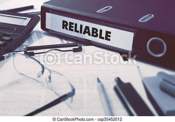 Reliable on Ring Binder. Blured, Toned Image. - csp35452012