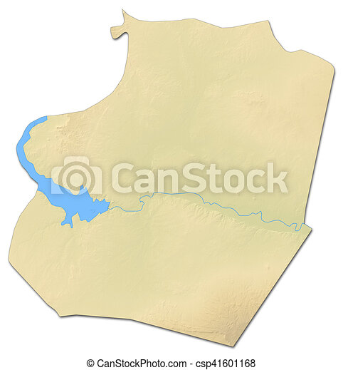 Relief map arraqqah syria 3drendering Relief map of