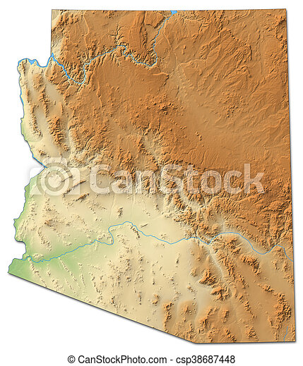 3d Map Of Arizona.Relief Map Arizona United States 3d Rendering