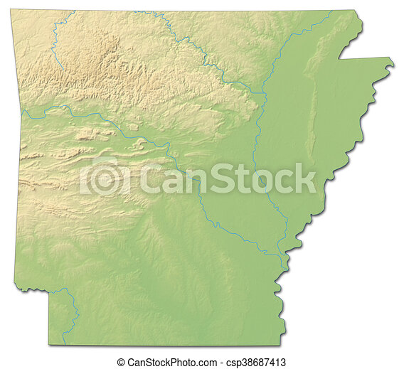 Relief Map Of United States.Relief Map Arkansas United States 3d Rendering Relief Map Of