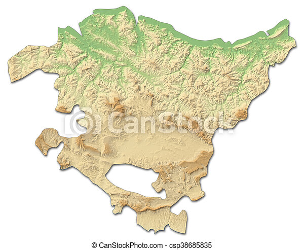 Country Of Spain Map.Relief Map Basque Country Spain 3d Rendering Relief Map Of
