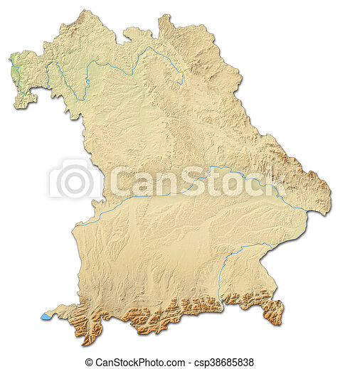 Relief map - Bavaria (Germany) - 3D-Rendering