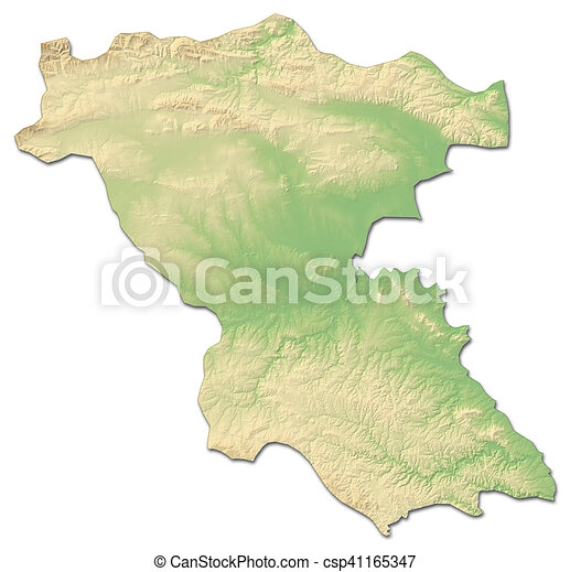 Relief map burgas bulgaria 3drendering Relief map of