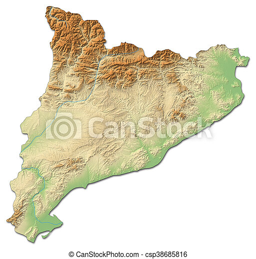 Relief Map Catalonia Spain 3d Rendering Relief Map Of