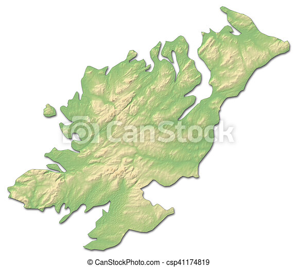 Donegal On Map Of Ireland.Relief Map Donegal Ireland 3d Rendering