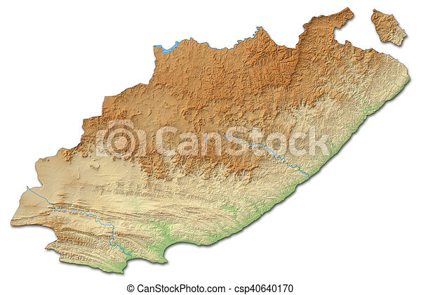 Map Eastern Cape South Africa.Relief Map Eastern Cape South Africa 3d Rendering