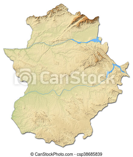 Map Of Spain Extremadura.Relief Map Extremadura Spain 3d Rendering