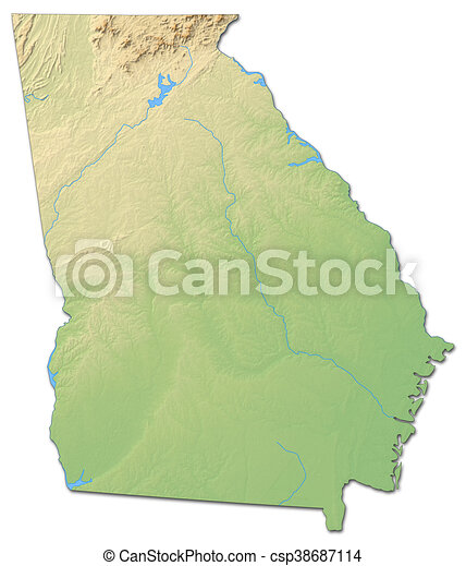 Relief Map Of United States.Relief Map Georgia United States 3d Rendering Relief Map Of
