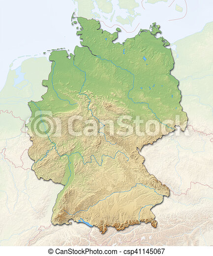 Map Of Germany 3d.Relief Map Germany 3d Rendering Relief Map Of Germany With