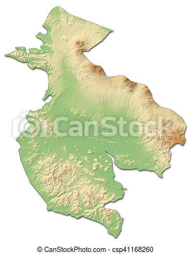 Relief map - guanacaste (costa rica) - 3d-rendering. Relief map of ...