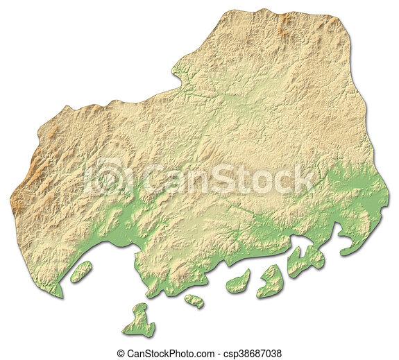 Relief map hiroshima japan 3drendering Relief map of