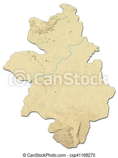 Relief map kankan guinea 3drendering Relief map of