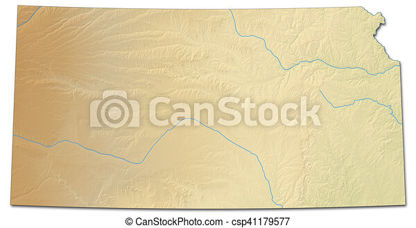 Relief map - kansas (united states) - 3d-rendering. Relief ...