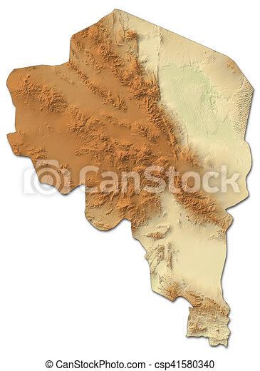 Relief map kerman iran 3drendering Relief map of drawing