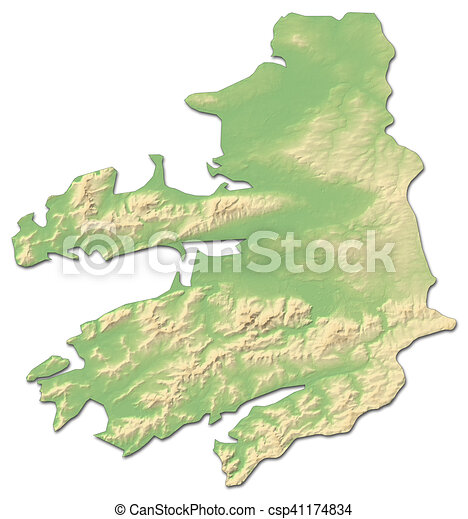 Map Of Ireland 3d.Relief Map Kerry Ireland 3d Rendering