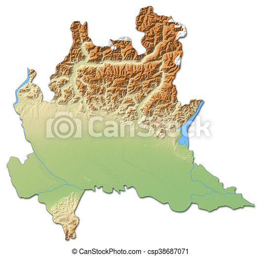Relief map - lombardy (italy) - 3d-rendering. Relief map of lombardy ...