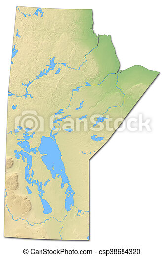 Relief Map Manitoba Canada 3d Rendering Relief Map Of
