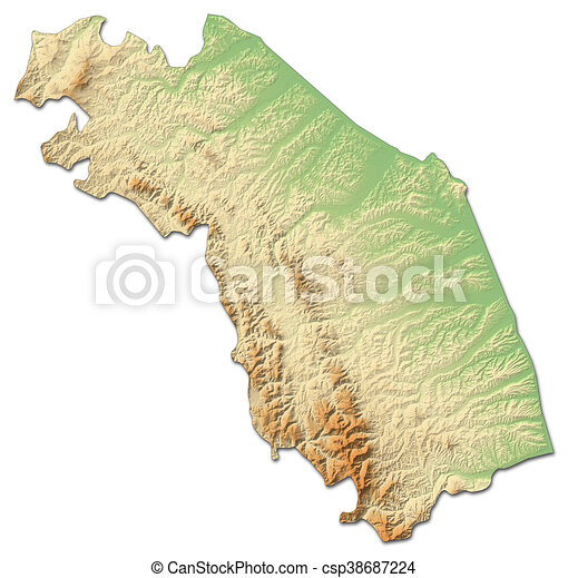 Relief Map Marche Italy 3d Rendering Relief Map Of Marche A