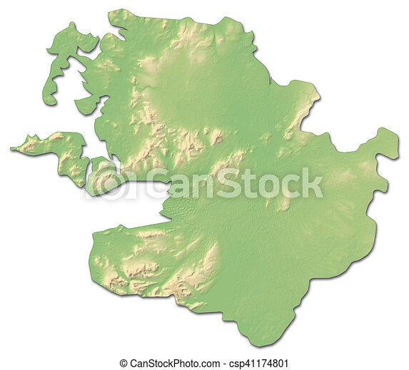 Map Of Ireland 3d.Relief Map Mayo Ireland 3d Rendering