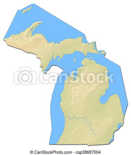 relief map michigan united states 3d rendering csp38687004