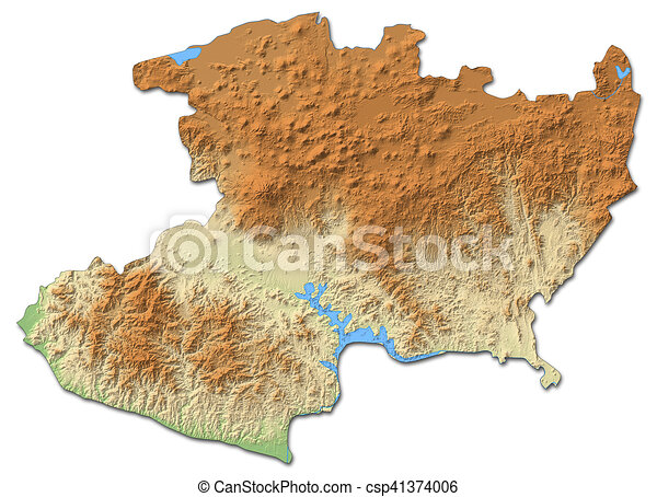 Relief map - michoacan (mexico) - 3d-rendering. Relief map of ...