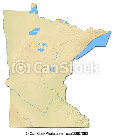 Relief Map Minnesota United States 3d Rendering Relief Map Of