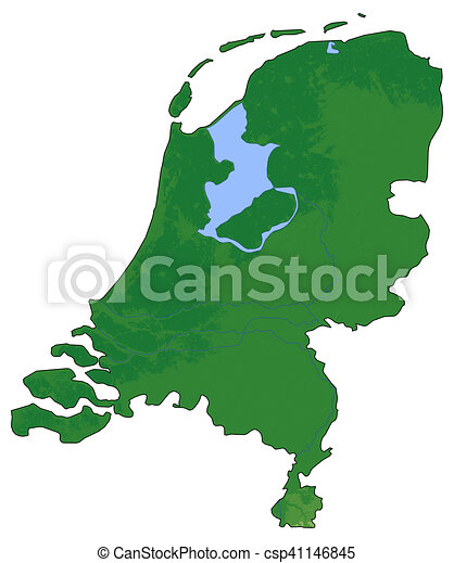 Relief map netherlands 3drendering Relief map of drawing