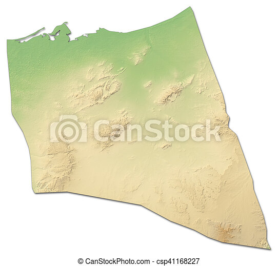 Relief Map North Sinai Egypt 3d Rendering Relief Map Of North