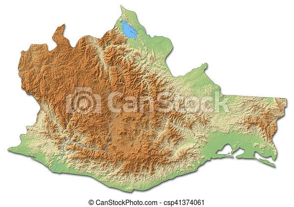 relief map oaxaca mexico 3d rendering csp41374061