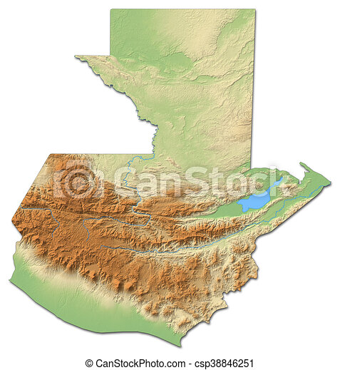 Relief map of guatemala - 3d-rendering. Relief map of guatemala with ...