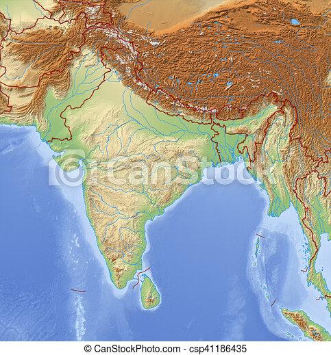 3d Relief Map Of Uk.Relief Map Of India 3d Rendering