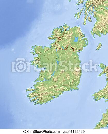 Map Of Ireland 3d.Relief Map Of Ireland 3d Rendering