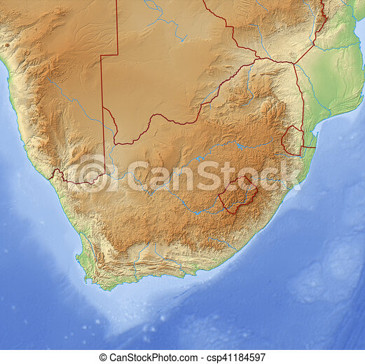 Relief Map Of Southern Africa.Relief Map Of South Africa 3d Rendering